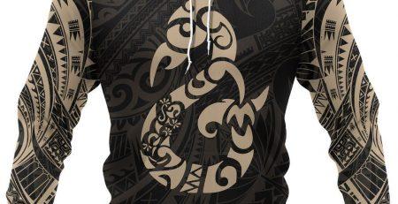 Manaia Maori Tattoo Style All Over Hoodie Golden NVD