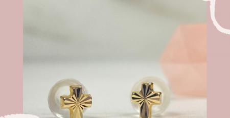14k Solid Gold Cross Earrings