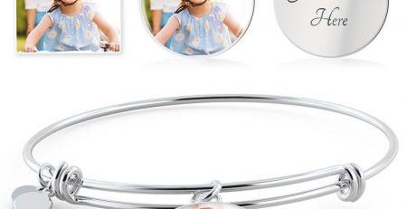 Circle Pendant Luxury Bangle Circle Pendant Silver Bangle