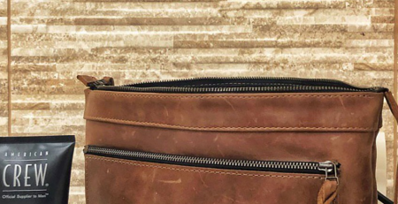 Cognac Leather Cosmetic Bag with Personalization