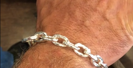 Mens Solid Silver Cable Chain Bracelet