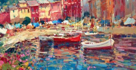 Portofino Painting on Canvas Original Art Italy Painting Seascape Painting