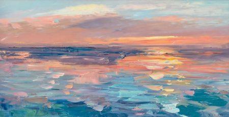 Sunset Painting on Canvas Original Art Ocean Art Beach Wall