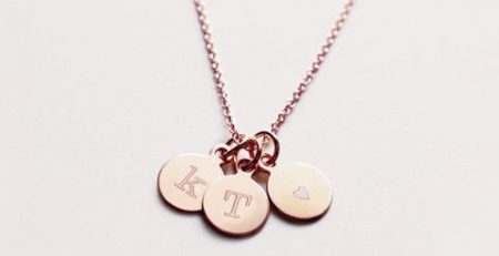 Three Rose Gold Initial Charm Necklace