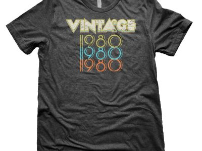 41st Birthday Gift Vintage 1980 Triple Tee Shirt for Men
