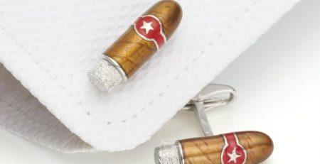 Churchill Cigar Silver Enamel Cufflinks