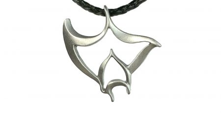 Manta Ray Necklace Pewter Pendant Manta Ray Gift for Women