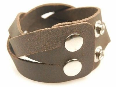 Mens Supple Soft Brown Genuine Leather Wristband Strap Wide Platted