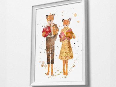Mr Fox Family Movie Minimalist Watercolor Art Print Print