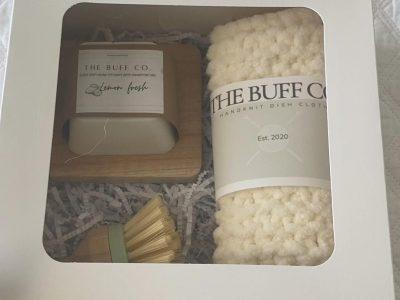 Solid dish soap hand knit dish cloth gift box