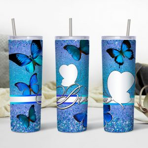 Butterfly Themed Tumbler with Photo Mockup