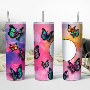 Butterfly Themed Tumbler with Photo Mockup Personalized1