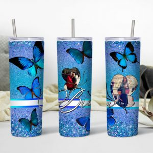 Butterfly Themed Tumbler with Photo Mockup2