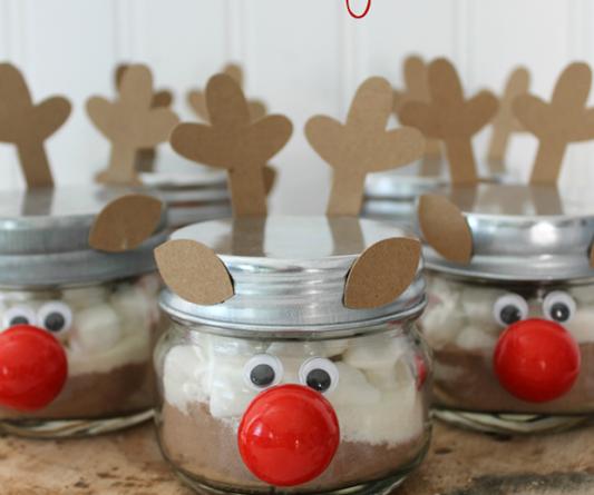 Hot Cocoa in a Reindeer Jar gift idea