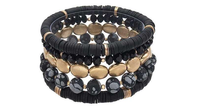 Multi Style Natural Stone Stretch Bracelet Black