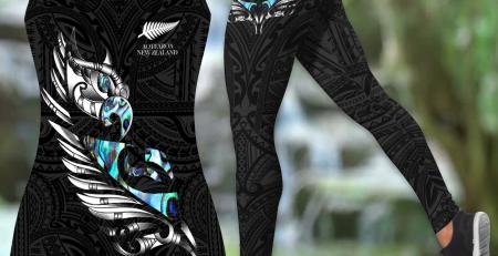 New zealand paua fern wing manaia tank top leggings