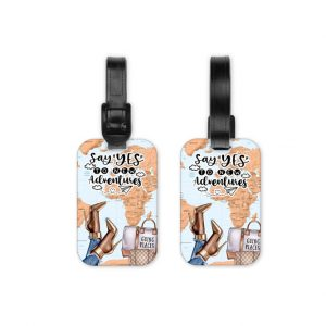 Say Yes To New Adventures Dark Luggage Tag