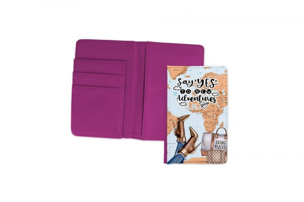 Say Yes To New Adventures Dark Passport Cover Fuchsia