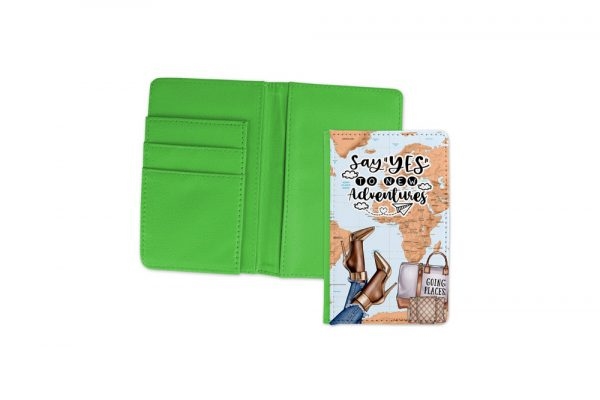 Say Yes To New Adventures Dark Passport Cover Green