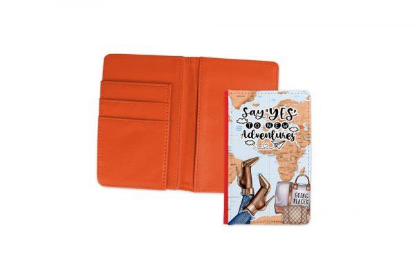 Say Yes To New Adventures Dark Passport Cover Orange