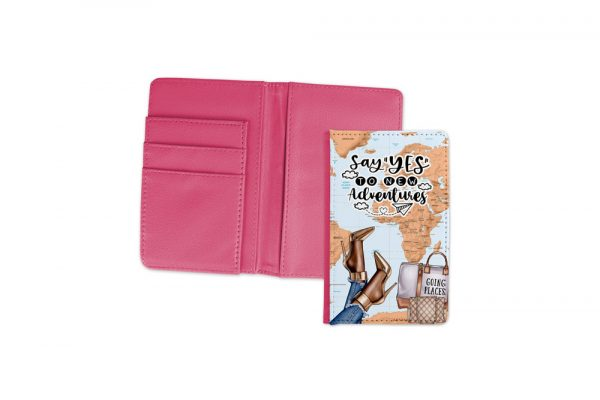 Say Yes To New Adventures Dark Passport Cover Pink