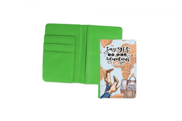 Say Yes To New Adventures Light Passport Cover Green 1