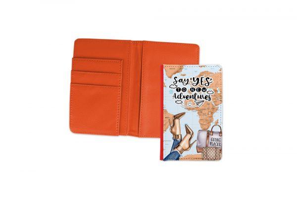 Say Yes To New Adventures Light Passport Cover Orange 2