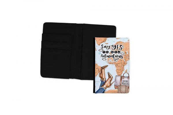 Say Yes To New Adventures Medium Passport Cover Black