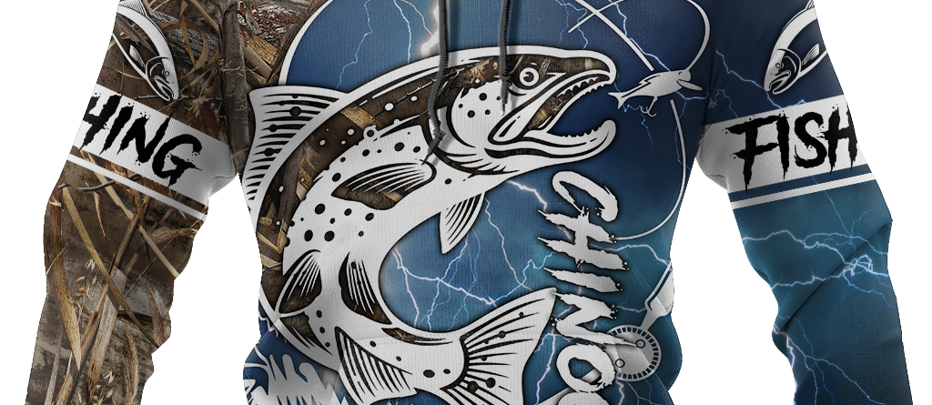 Chinook Fishing Salmon camo all over printed shirts for men