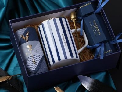 Gift set for Him Stripes Ceramic cup Handkerchief with