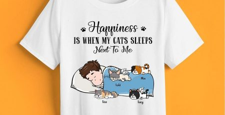 Happiness Is When Cats Sleep Next To Me Official Sleepshirt