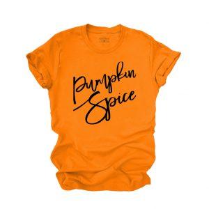 Pumpkin Spice Script on Orange T Shirt