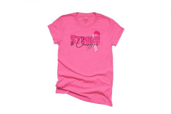 Strong Courageous Breast Cancer Awareness T Shirt