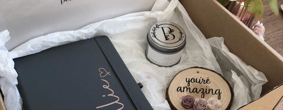 personalised gift box small rose gold candle sparkling pomelo