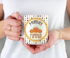 Morning Pumpkin Polka Dot Mug