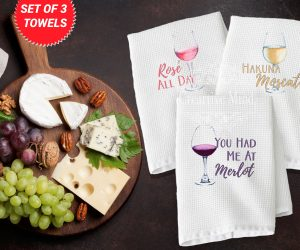 Wine Trio Waffle Weave Towel