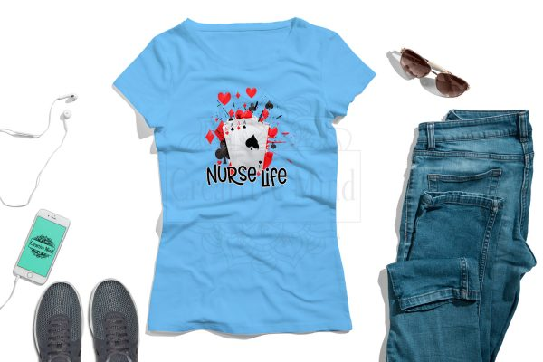 Card Playing Nurse T Shirt Plush Prints