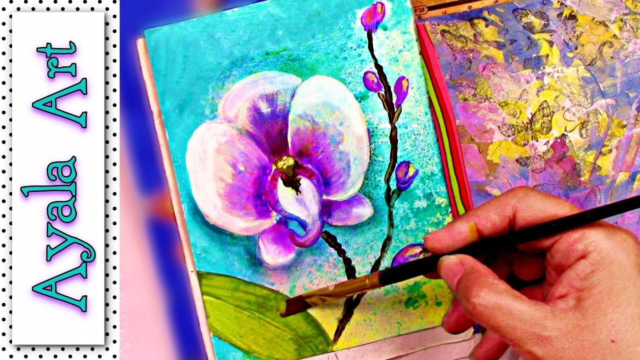 How to paint an orchid with acrylics - SWEET Art journal ideas tutorials