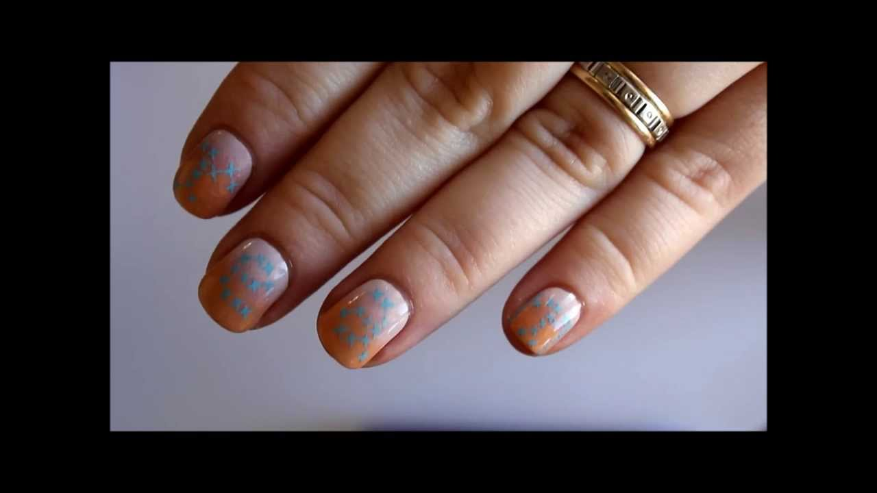 Gradient and Cross-stitch Lettering Nail Art Tutorials
