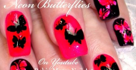 Neon Butterfly Nails | Pink and Black Butterflies Nail art Design