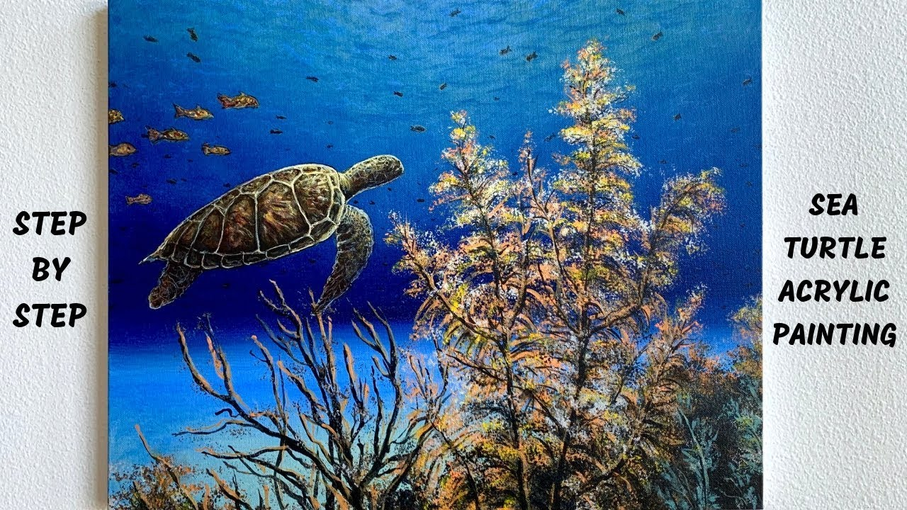 Sea Turtle Underwater Ocean STEP by STEP Acrylic Painting Tutorial (ColorByFeliks)
