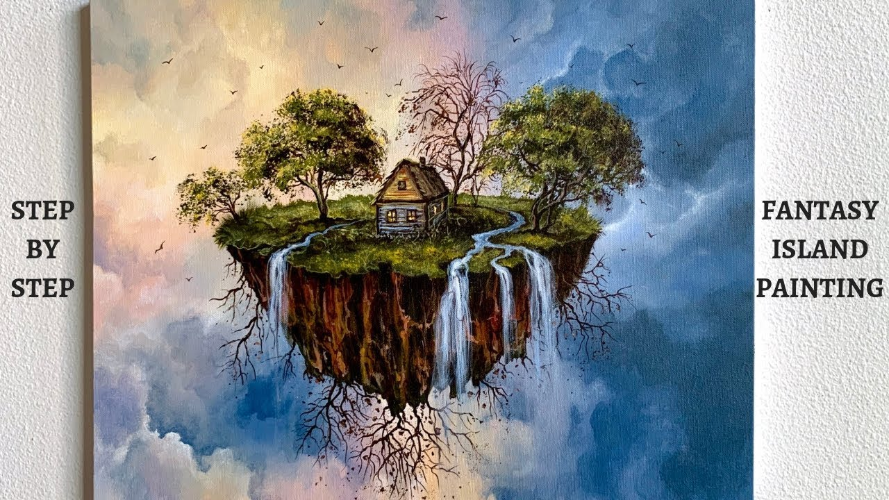 Waterfall Island Landscape STEP by STEP Painting Tutorial (ColorByFeliks)