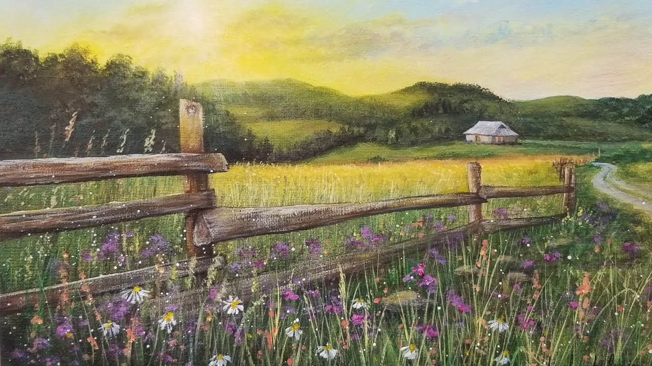 Country Fence Landscape Acrylic Painting LIVE Tutorial