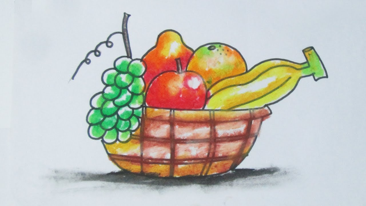 Art Tutorials For Kids How To Draw Fruit Basket With Pastels Easy Drawing By Indrajit Art School Creartive Mind