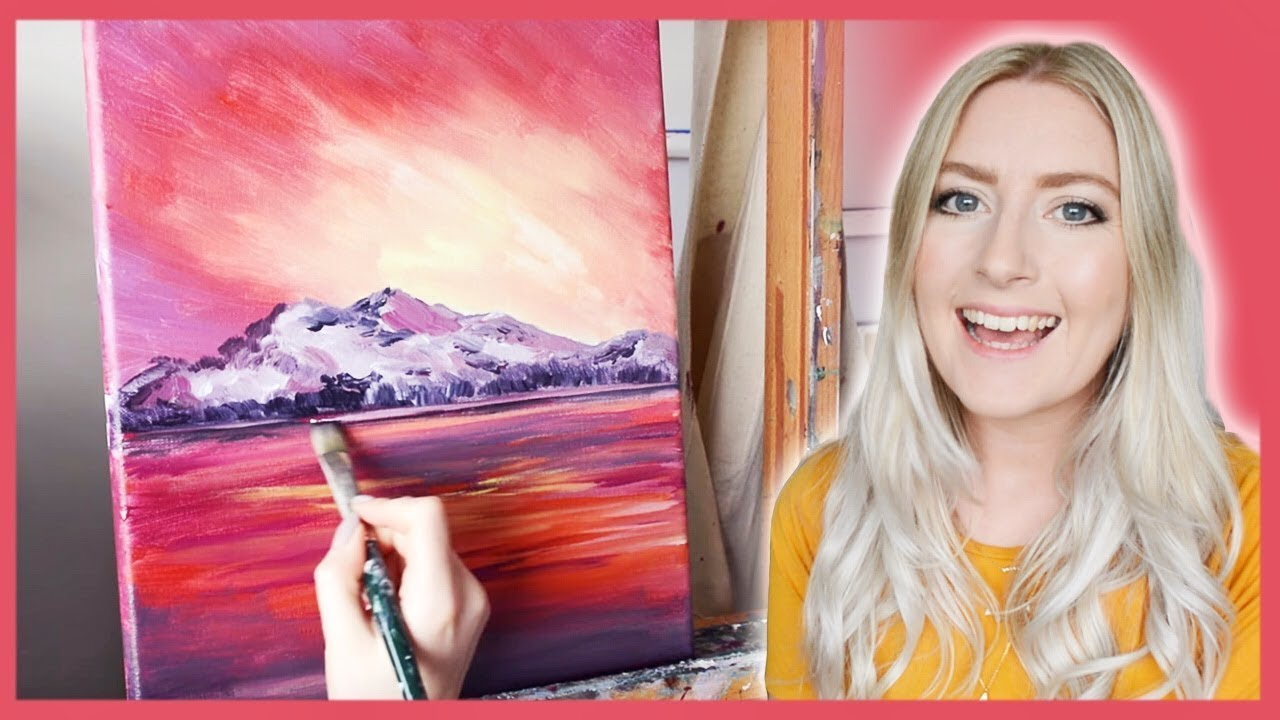 Therapy with Art |  PAINTING TUTORIAL  Sunset Mountain Acrylics {REAL-TIME}