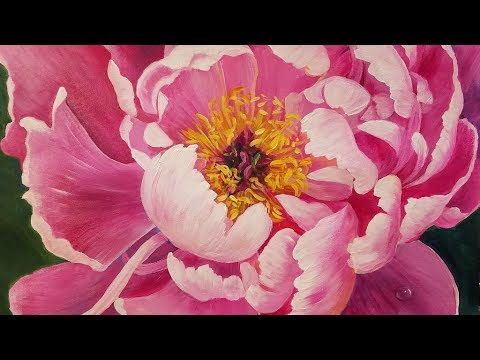 Floral Acrylic Painting Tutorial PEONY Blossom Flower LIVE