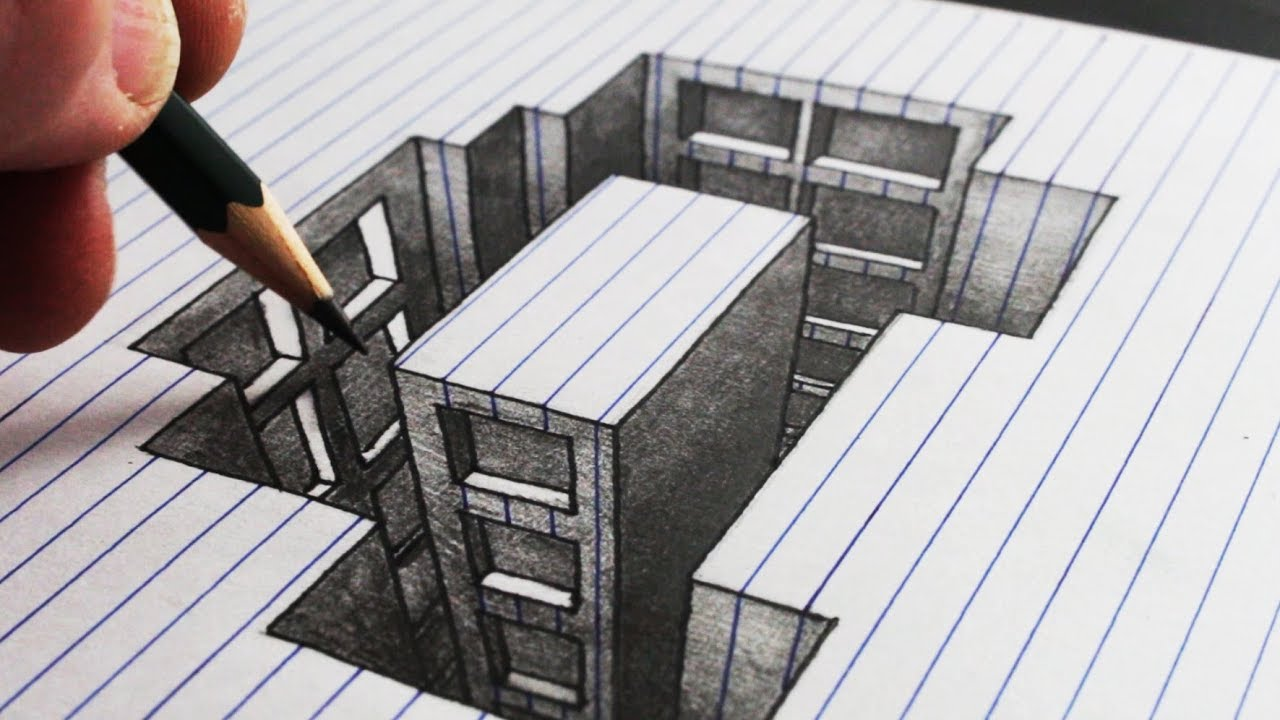 How to Draw a Hole Building: Line Paper 3D Trick Art
