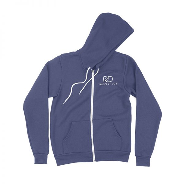 RD Unisex Sponge Fleece Full Zip Hooded Sweatshirt Heather Navy