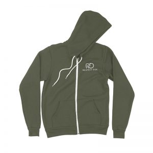 RD Unisex Sponge Fleece Full Zip Hooded Sweatshirt Military Green