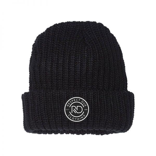 RD 12 Chunky Knit Beanie Black